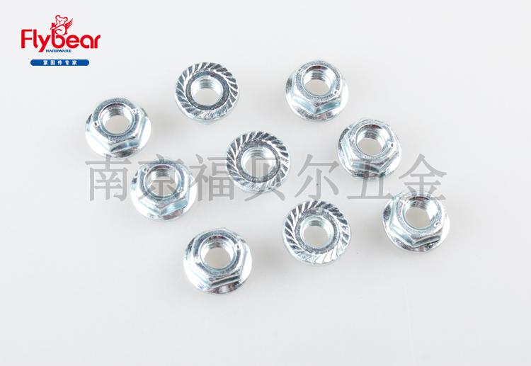 碳钢8级蓝白锌锁紧螺母DIN6923六角法兰螺母 法兰螺帽