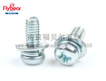 蓝白锌 GB9074.8十字槽小盘头螺钉和弹簧垫圈、平垫圈组合件