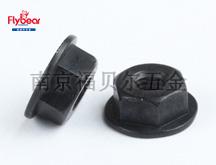 碳钢10级镀黑色锌镍合金法兰螺母 无防滑齿法兰螺母