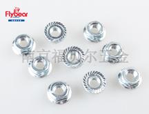 DIN6923六角法兰螺母 碳钢8级蓝白锌锁紧螺母